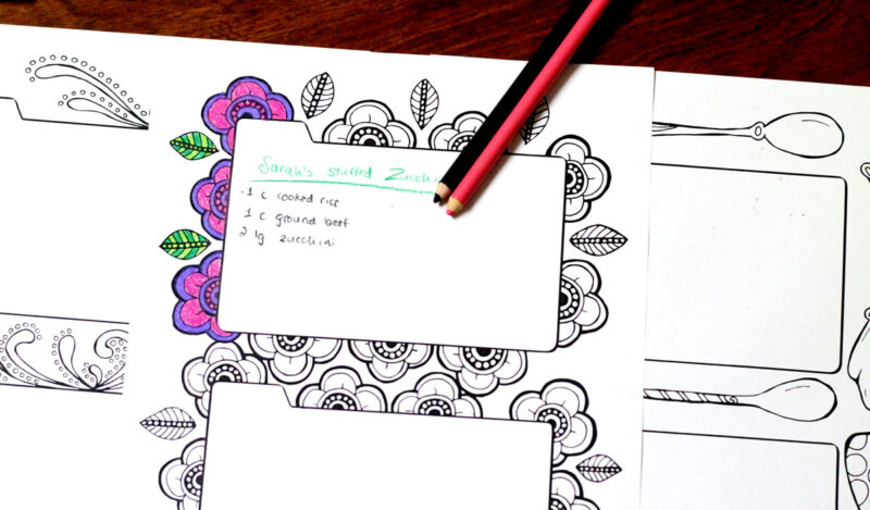 Color in recipe binder coloring book for grown ups for Binder coloring pages