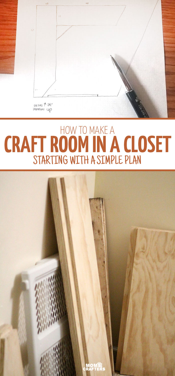 I have no space so turning a big closet into a craft room is a perfect idea! See the planning stages for a budget-friendly craft room in a closet - this is so simple and doable, even if you're not a builder.