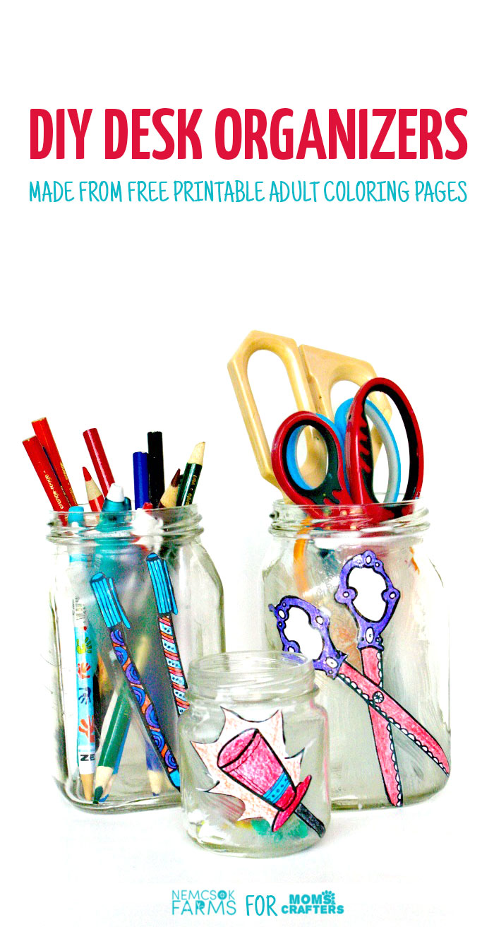 Um, why did I NOT think of this sooner? Check out how my friend took free printable adult coloring page and turned them into cool desk jar organizers, using recycled jars, and costing her literally pennies! This is one of my favorite easy and frugal desk organization ideas!