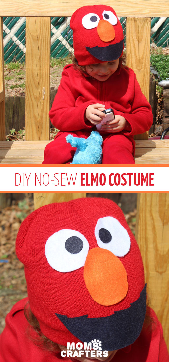 I made this easy DIY Elmo costume for my toddler in minutes! It's a simple, frugal, easy costume idea for toddlers or preschoolers who love Sesame Street and is a no-sew solution for moms who need to do things quickly. Perfect for Halloween or Purim.