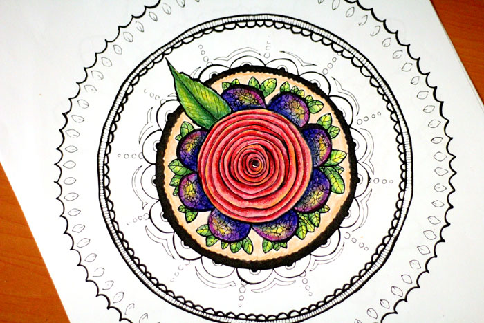 Grab these 5 cool printable mandala coloring pages for adults - floral, petals, rosette, buttons and fabric, and a mandala coffee mug!