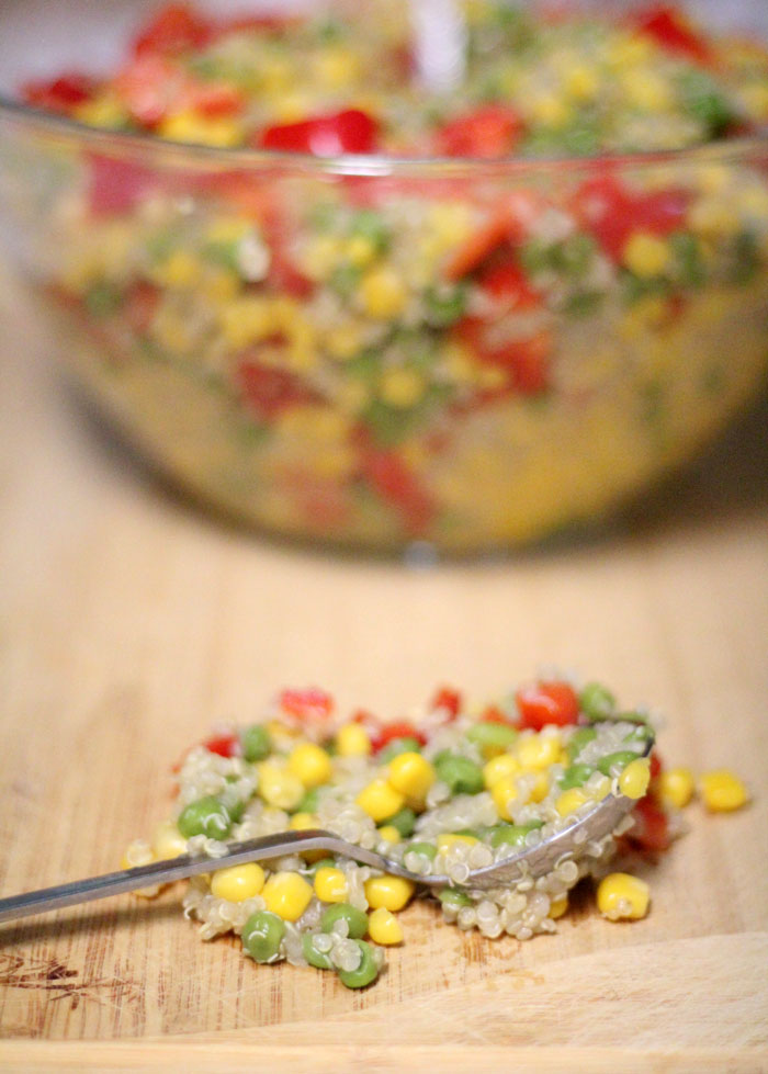 I love keeping a bowl of this easy and healthy garden quinoa salad recipe in the fridge! It's a great no-heat full meal with protein and vegetables - plus it's so colorful and pretty! Perfect for breastfeeding moms (I keep it handy while nursing)