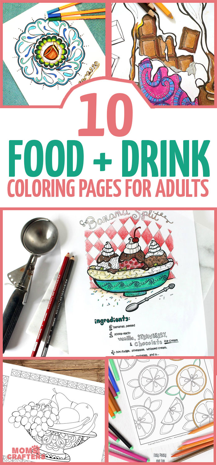 10 food coloring pages for grown ups moms and crafters