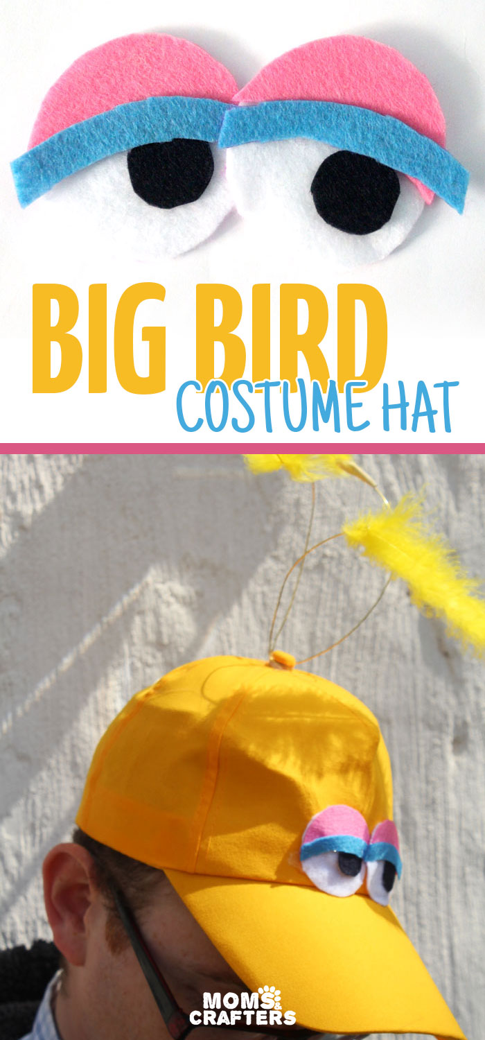 Make an easy no-sew DIY big bird costume hat! You can wear it alone or with a bigger getup, but this definitely speaks sesame street! Perfect for toddlers or adults for halloween, purim, or pretend play.