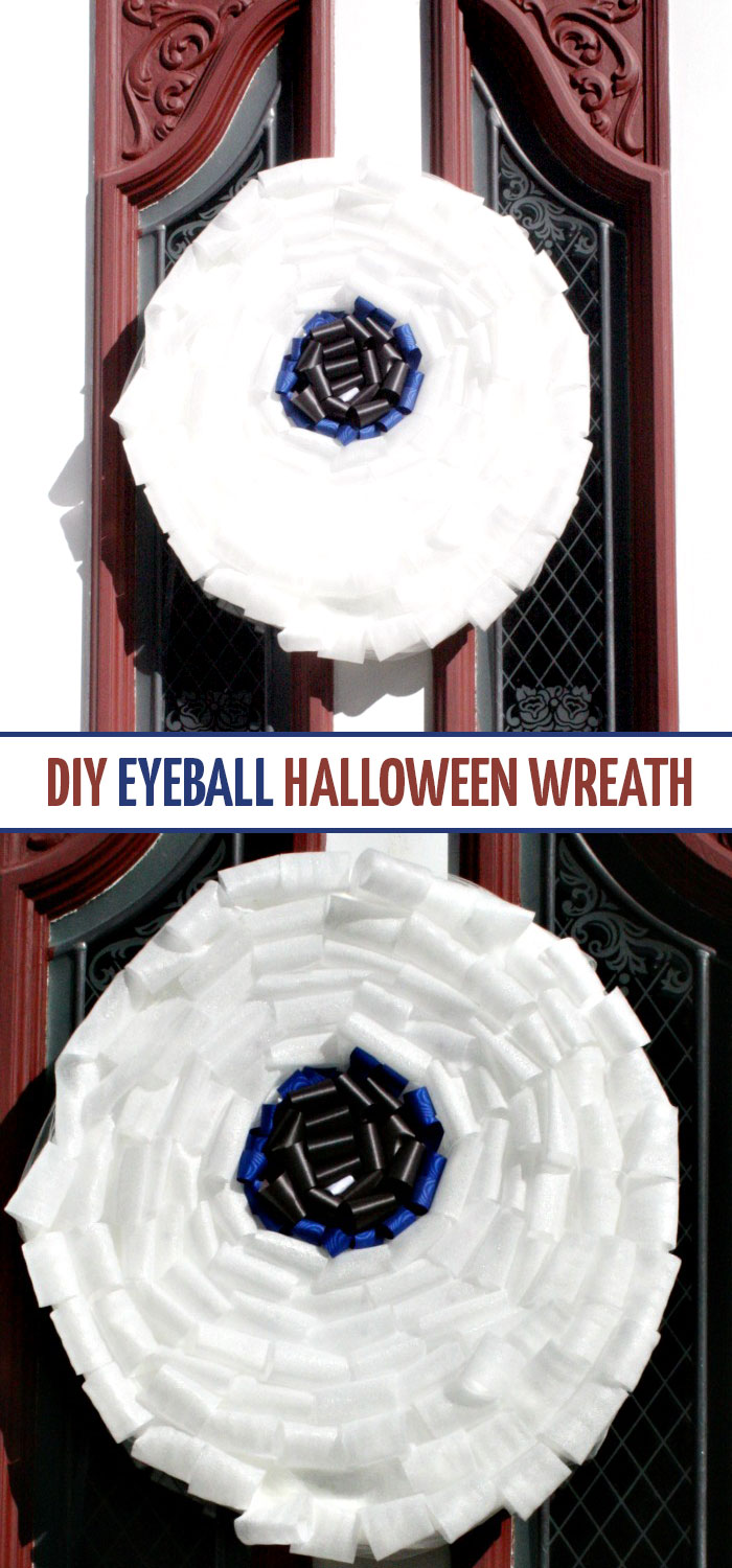Why should Halloween decor be only spooky? Make this fun and friendly DIY eyeball ribbon wreath - a cute and frienly Halloween decor idea and craft that can involve the kids too!