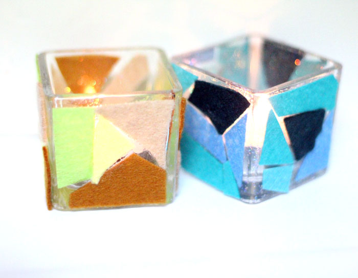 Make these beautiful DIY felt mosaic votive holders using up your felt scraps that you really should have thrown out. It's a perfect craft idea for your holiday table, to add art to your home via candles, or for any day!