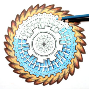 Grab this free printable gears mandala coloring page for adults - and learn how I find the time to color as a busy mom! You'll love these time-saving parenting tips that give you the chance to do the things you like, relax, and take care of yourself!