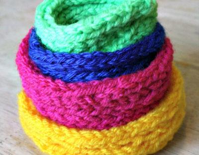 Knit stacking bowls