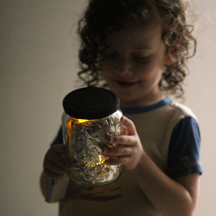 Make a beautiful starry night light that projects starts onto your wall! This fun toddler craft is great for kids of all ages - including preschool - as well. IT's made using recycled jars and based on the free Amazon Prime series Creative Galaxy that will give you plenty more kids craft ideas to try!