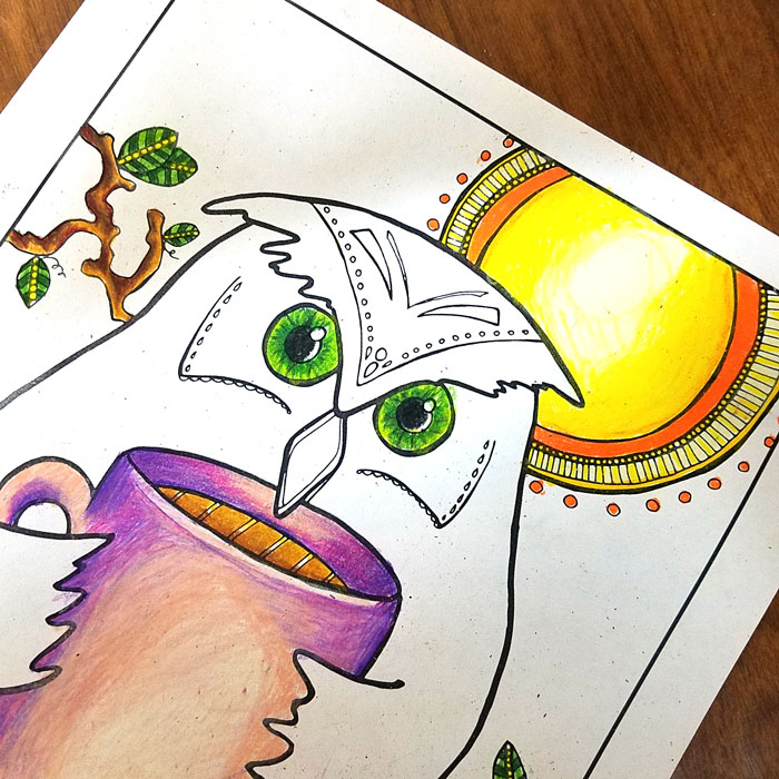 Get this FREE printable coloring page for adults - it's a quirky and unique owl coloring page!