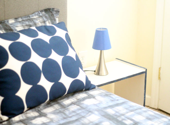 This IKEA RAST night stand makeover is so easy! The DIY color accent nightstand really pulls together the entire bedroom - which was remade on a shoestring. You'll love these budget-friendly bedroomd decor ideas and this easy IKEA RAST hack that can be done during naptime.