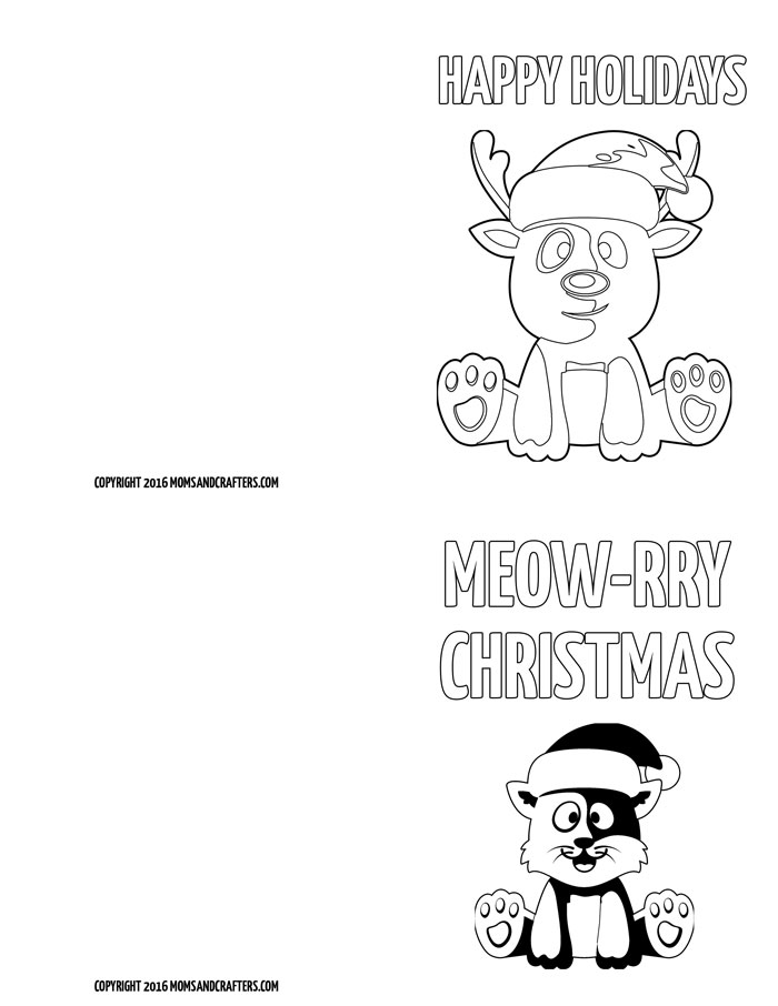 photo relating to Printable Christmas Cards for Kids referred to as No cost Printable Coloration-within just Trip Playing cards for Youngsters * Mothers and