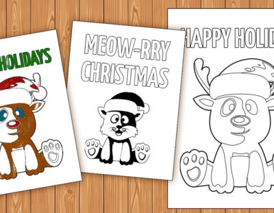 Free Printable Color-in Holiday Cards for Kids