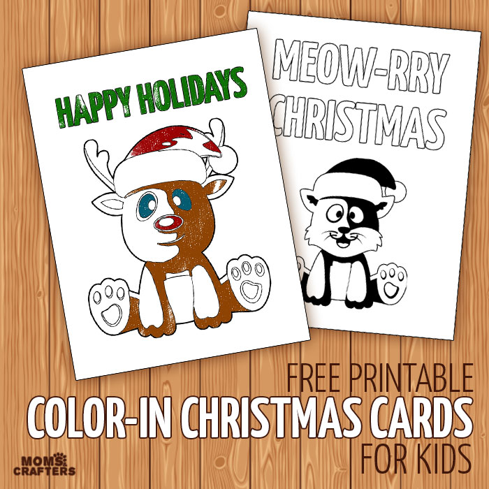 Free printable color-in holiday cards for kids - these christmas cards are so cute! Great ideas for kid-made cards without the mess, to involve kids in the holidays.