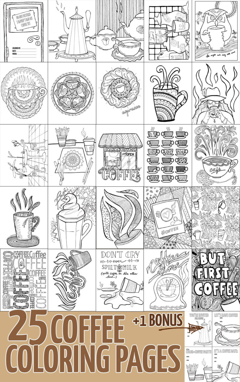 coffee coloring pages for adults preview
