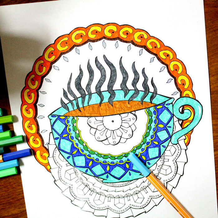 coffee coloring pages for adults s