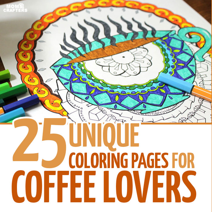 If you love coffee coloring pages for adults, you're going to go nuts over this pack of 25 - plus bonus coffee date invites! It includes coffee mandala colouring pages for grown-ups, owls, still-life, and more all in a coffee theme! click to find out more.
