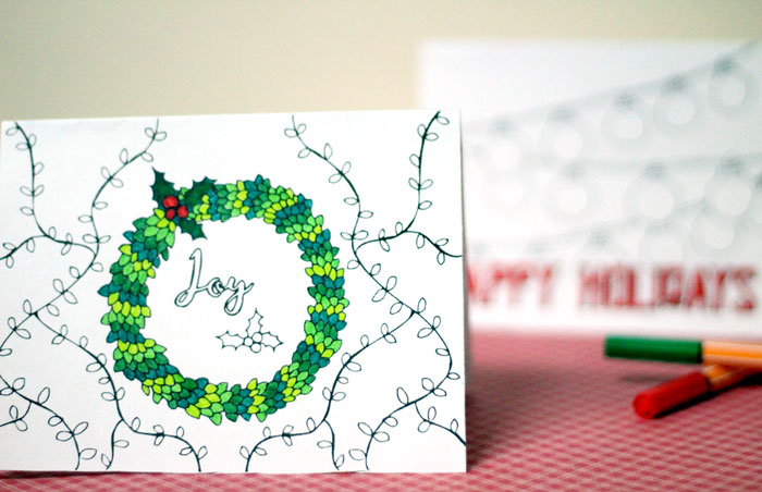 you click on the image to download these free printable holiday cards adult coloring pages you - Coloring Christmas Cards 2