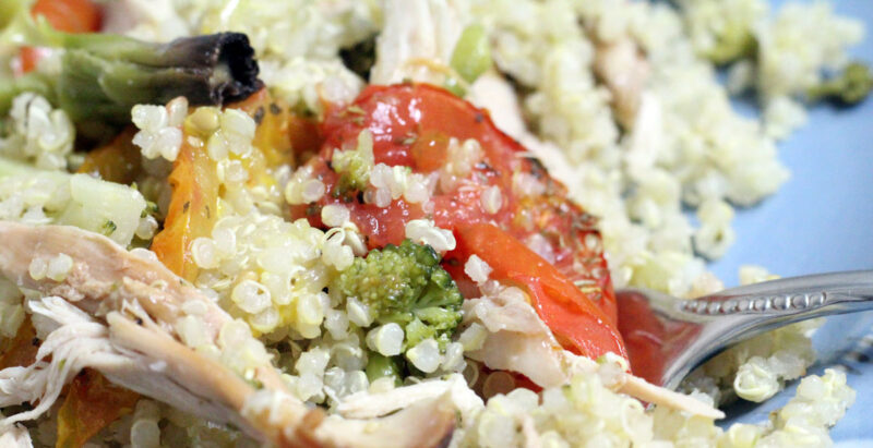 Use up your leftover turkey or chicken with this delicious quinoa salad. It's a great easy dinner for after Thanksgiving, or any time you have leftovers you need to use. Use up your vegetable dishes and your overripe vegetables as well.
