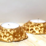 DIY Clay Candle Holders that look like Hammered Metal!