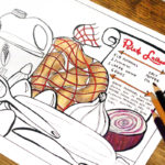 It's a free printable Hanukkah coloring page for adults! Download this colouring page for grown-ups as a fun Chanukah activity for parties. It includes a recipe for golden potato latkes for you to enjoy - a traditional Hanukkah food.