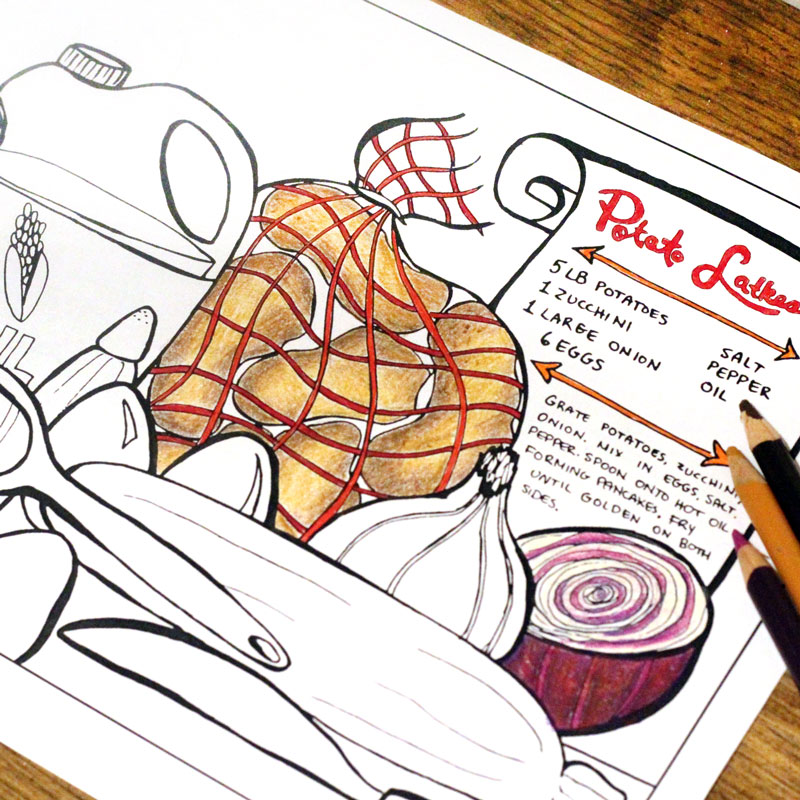 Free Printable Hanukkah Coloring Page for Adults - Latkes Recipe