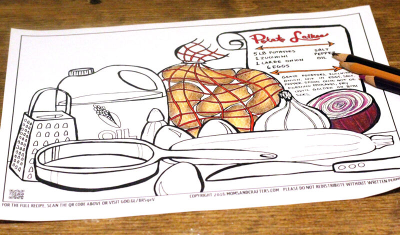Free Printable Hanukkah Coloring Page for Adults - Latkes Recipe