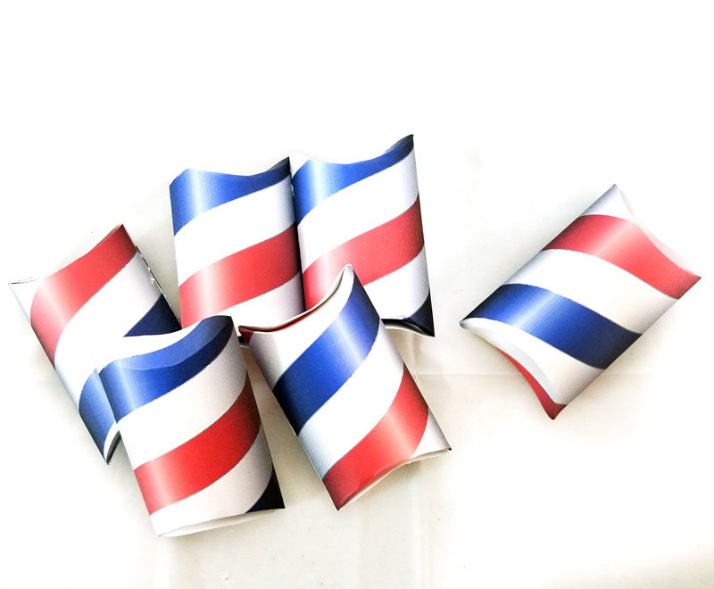 If you're throwing a barber shop themed or haircut party, or even a mustache bash, you may want to check out these free printable barber shop treat boxes - you can just print these favor boxes and they are easy to assemble and fill with inexpensive candy or favors. The fun red white and blue pillow boxes are also patriotic and great for Independence Day