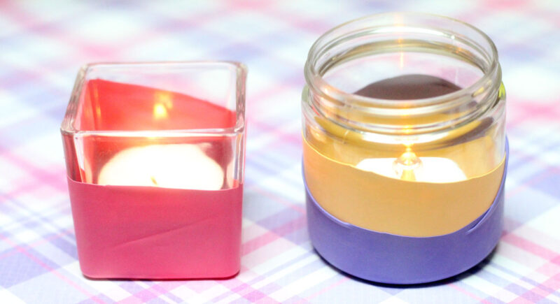 Make this ridiculously easy color block candle holder in minutes - super quick craft idea that anyone can make, perfect for decor at parties, new year's eve, or any celebration.