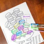 Free Printable coloring pages for adults - get this free food coloring page download for grown-ups! Color these macarons using pretty pastels or however you like them - whatever you do, just don't topple the pile! these are a great activity at a French themed event or to frame and hang as DIY kitchen decor.