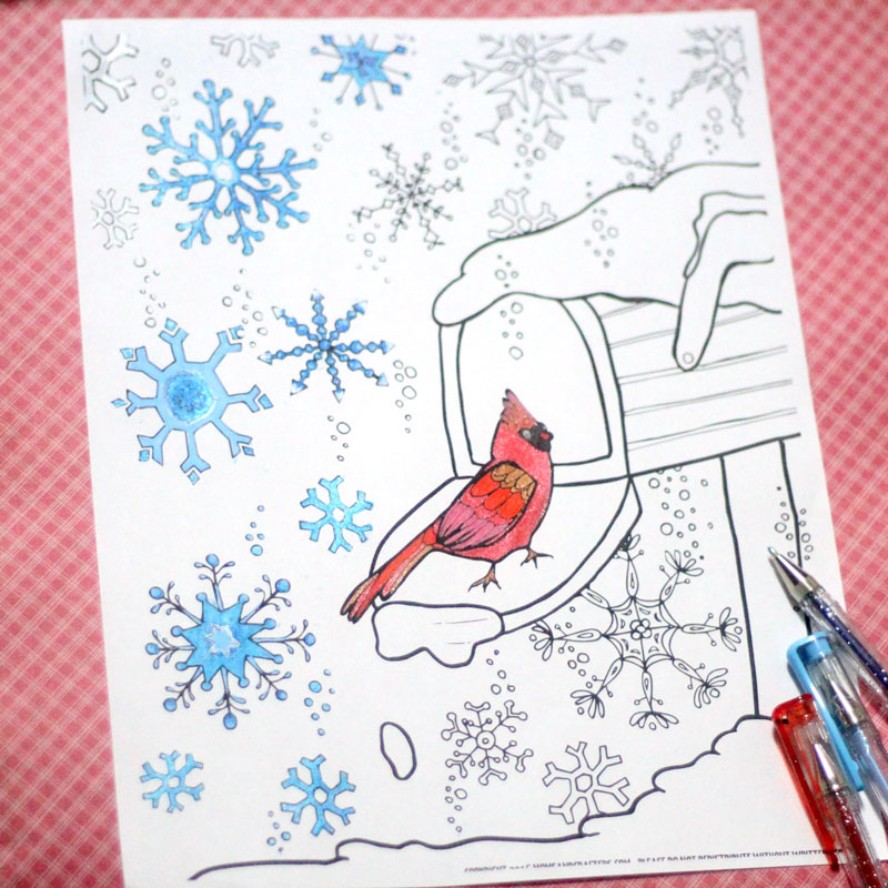 I had such fun coloring this snowflake winter coloring page for grown-ups! IF you like to relax with adult colouring pages and adult therapy, this free printable coloring page for adults is perfect for you. Great for teens, adults, tweens, and anyone who loves a good art challenge.