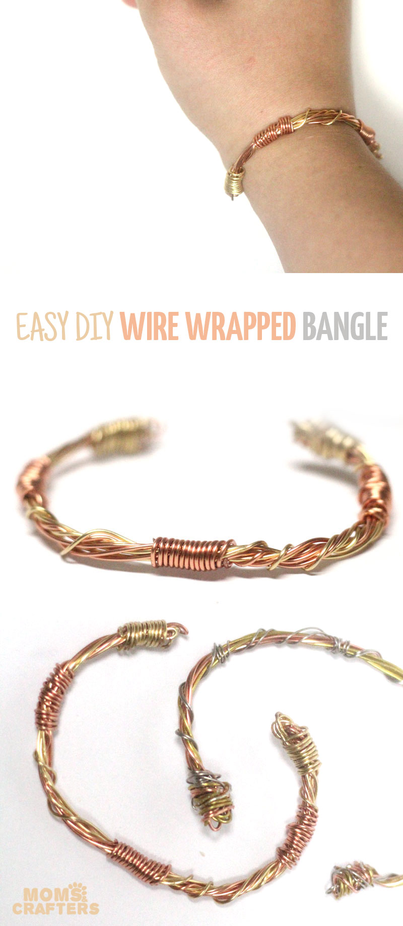DIY Easy Wire Wrapped Bangle - Moms and Crafters
