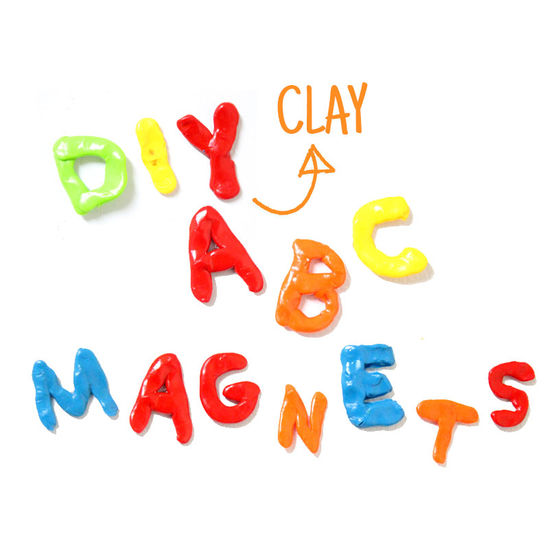 Make these fun DIY alphabet magnets using clay - love this DIY gift idea for young children! IT's a great way to teach the abc's and perfect for preschoolers. The glossy finish makes it look great.