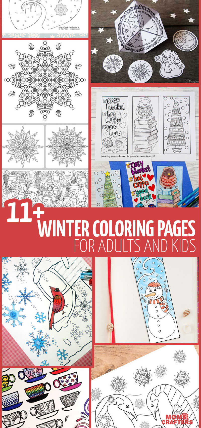 Grab these free printable winter coloring pages for adults - for lots of adult colouring pages and fun!! #adultcoloring #coloringpage