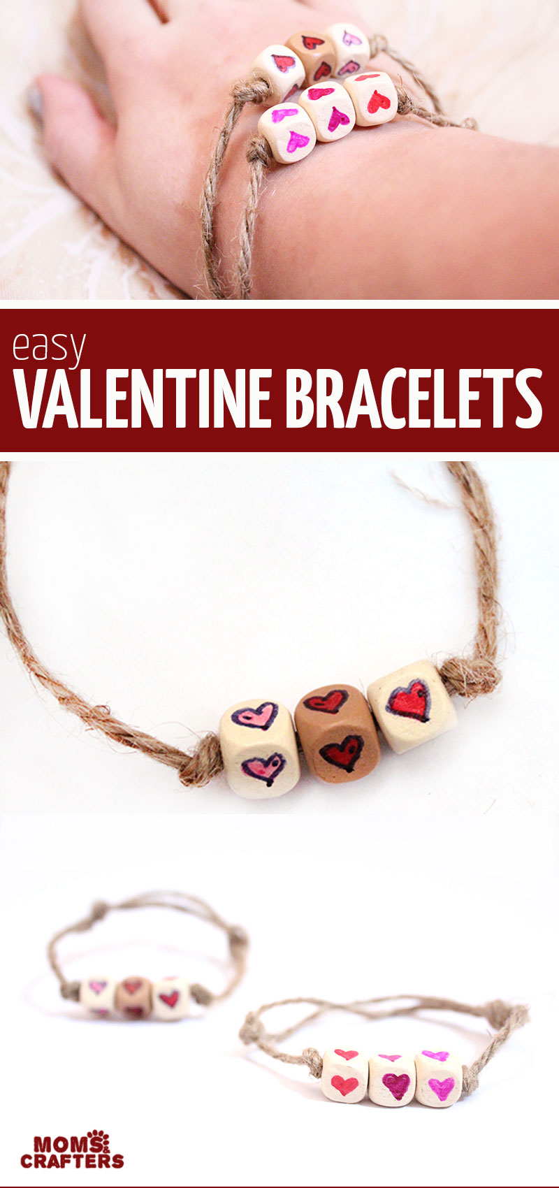 Click to learh now to make easy heart friendship bracelets - these fun DIY valentine ideas for tweens and teens are easy and cheap to make!