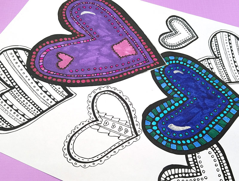 Free printable coloring pages for adults in a fun heart pattern! You'll love this complex colouring page for grown-ups, great for relaxing and color therapy. It's perfect for Valentine's Day but great for any day of the year too.