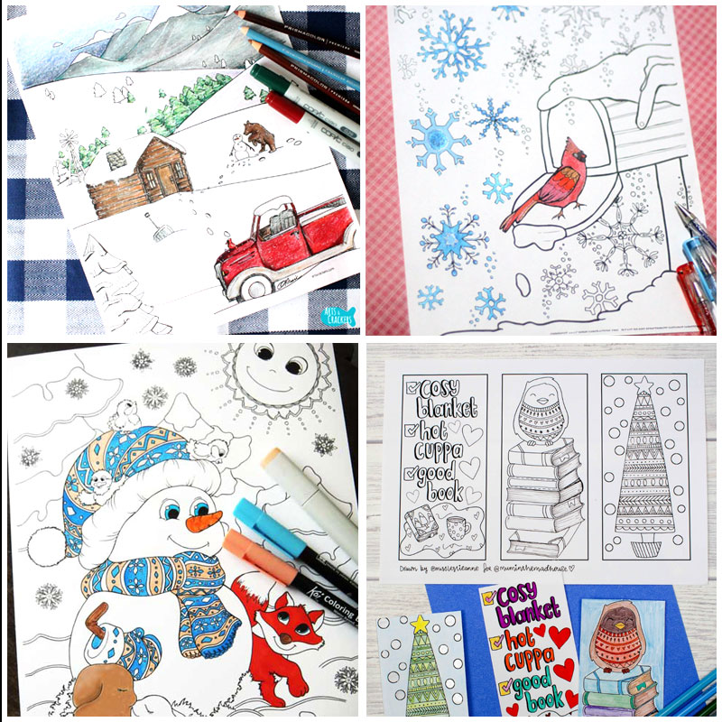 Get these 11+ free printable winter coloring pages for adults - not just for Christmas this time around! You'll love these free colouring pages for grown-ups - a great activity for teens and tweens on snow days as well!