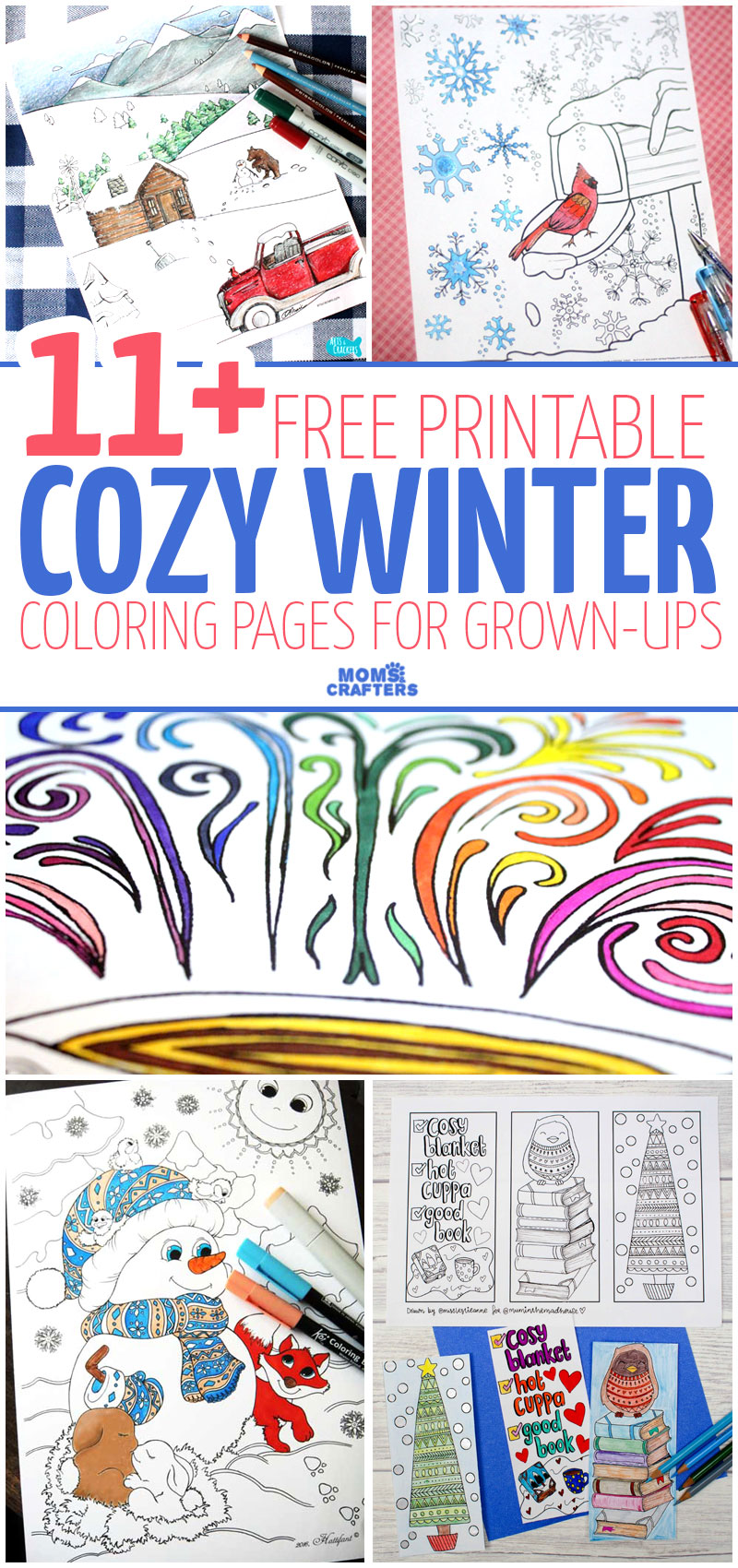 Free Printable Winter Coloring Pages for Adults Moms and Crafters