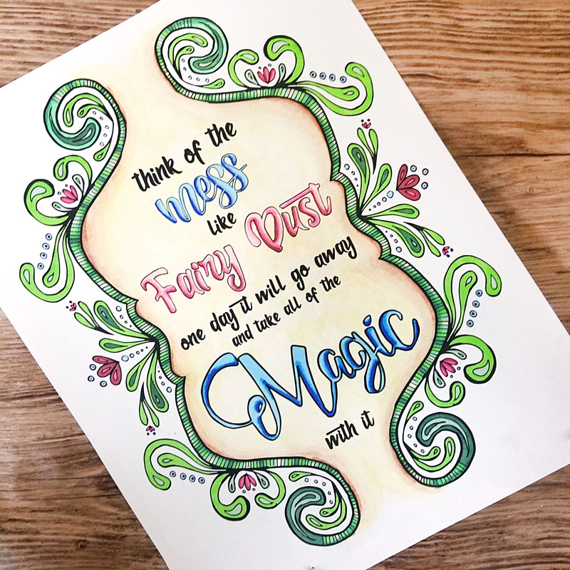 A free printable coloring page for moms - this beautiful hand-drawn quote coloring page for adults has an inspiring message about motherhood: the mess is normal! And it's a blessing! You'll love this easy grown-up page to colour, especially since you can get it for free. It's also available as full color nursery wall art (click for details) - perfect for playrooms too! So relax, enjoy some color therapy and inspiration!