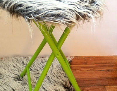 DIY Fur Stool Makeover – turn a cheap stool into something epic!