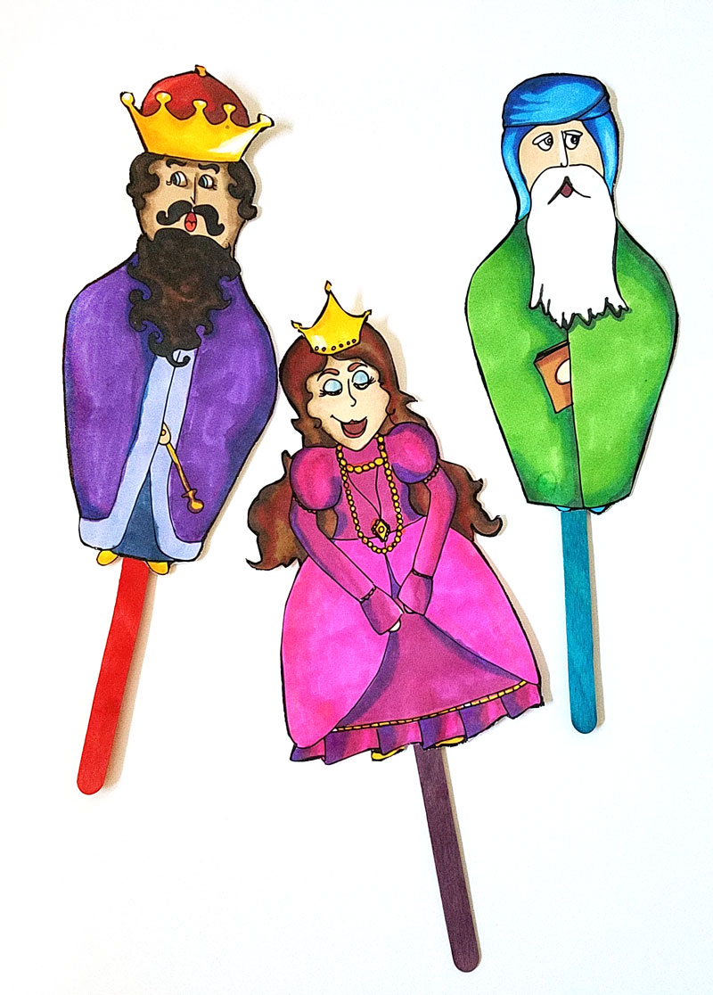These free printable color-in Purim puppets are adorable - and are a great functional alternative for kids coloring pages for the Jewish holiday of Purim. The characters can be used for anything really and are perfect for role play and pretend play activities for kids.