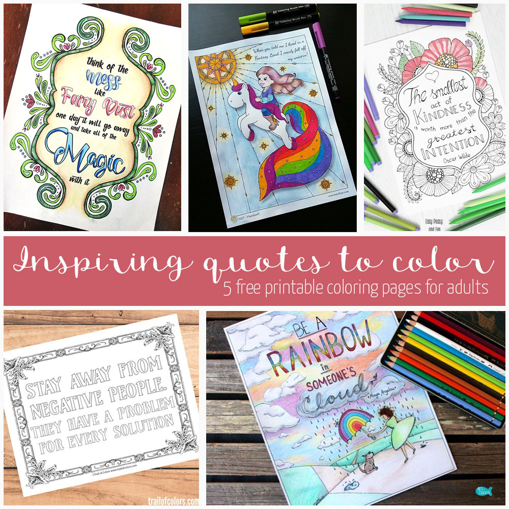 Get 5 free quotes coloring pages for adults direct from the artists!