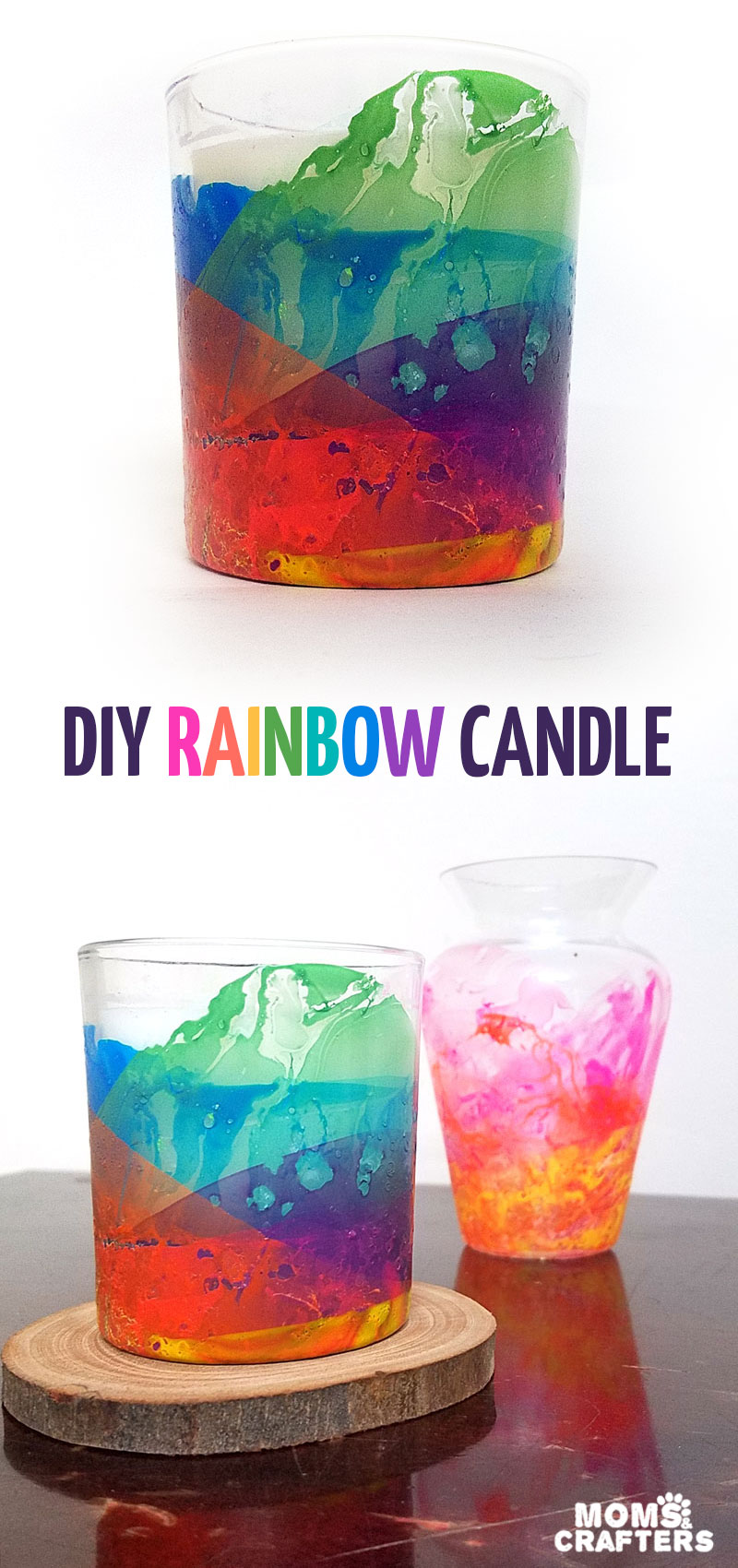 Make this beautiful rainbow candle as a DIY gift or a pretty home decor! The sheer layers of nail polish look a bit like water colors and the texture adds so much life. I had to try a few times to see the best way to make this dipped nail polish rainbow craft but now I can share my best tips with you so you'll get it right the first time (click for details)