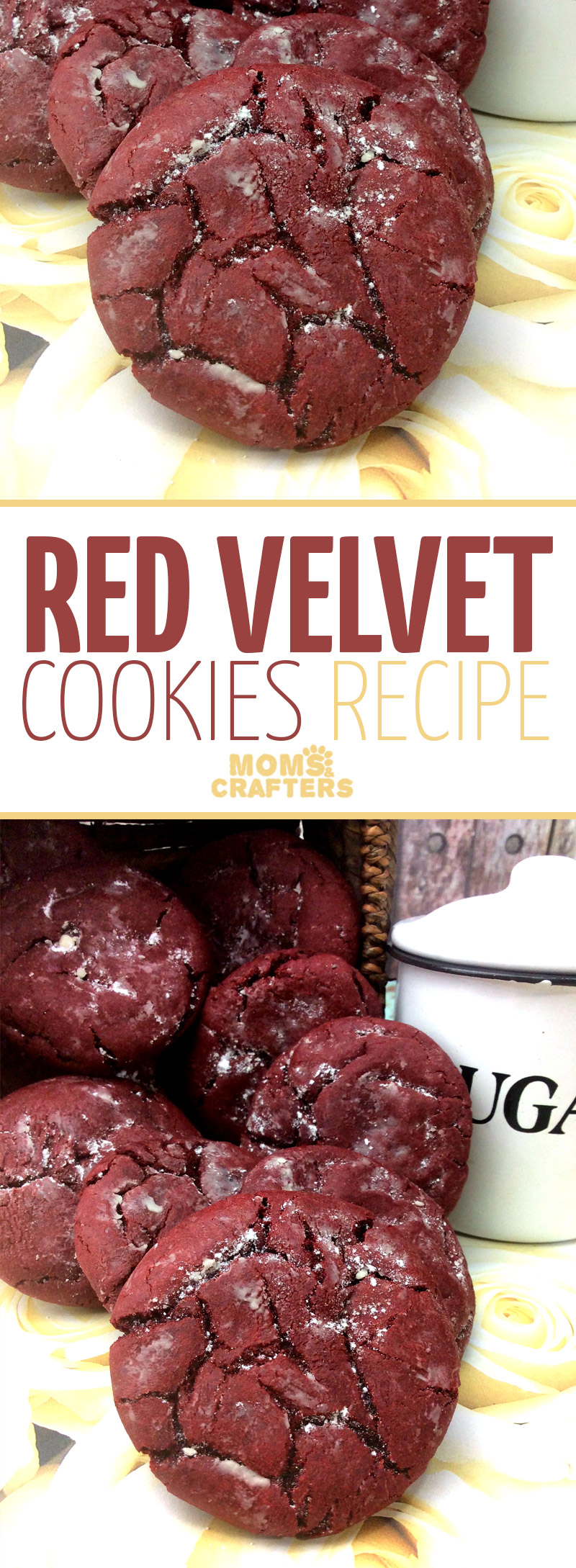 These delicious red velvet cookies are totally a comfort food! Try out this easy dessert recipe to serve with a side of vanilla ice cream, or to dip into your coffee