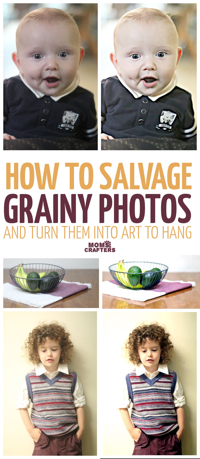 I discovered this cool way to salvage grainy photos - somehow all my best children's photos seem to blur or come out grainy. These kids photography tips help to salvage them and turn them into art for framing and using as home decor.