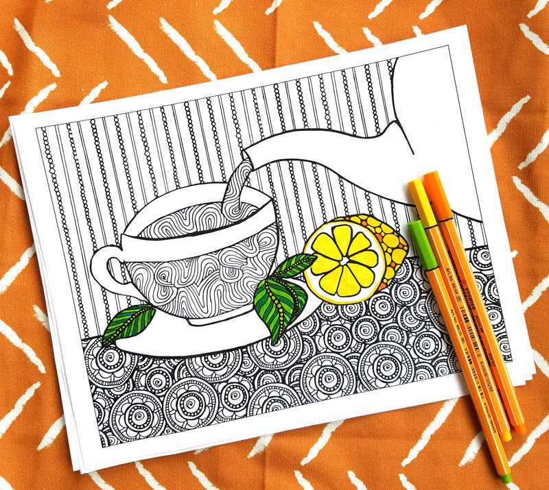 "I love these fun printable tea coloring pages for adults! This cool 5 page colouring packet for grown-ups comes with different levels of complexity on a ""tea time"" theme so that you can choose wichever suits your mood. You'll love these fun advanced and detailed beautiful color therapy pages with difficult and easy options."