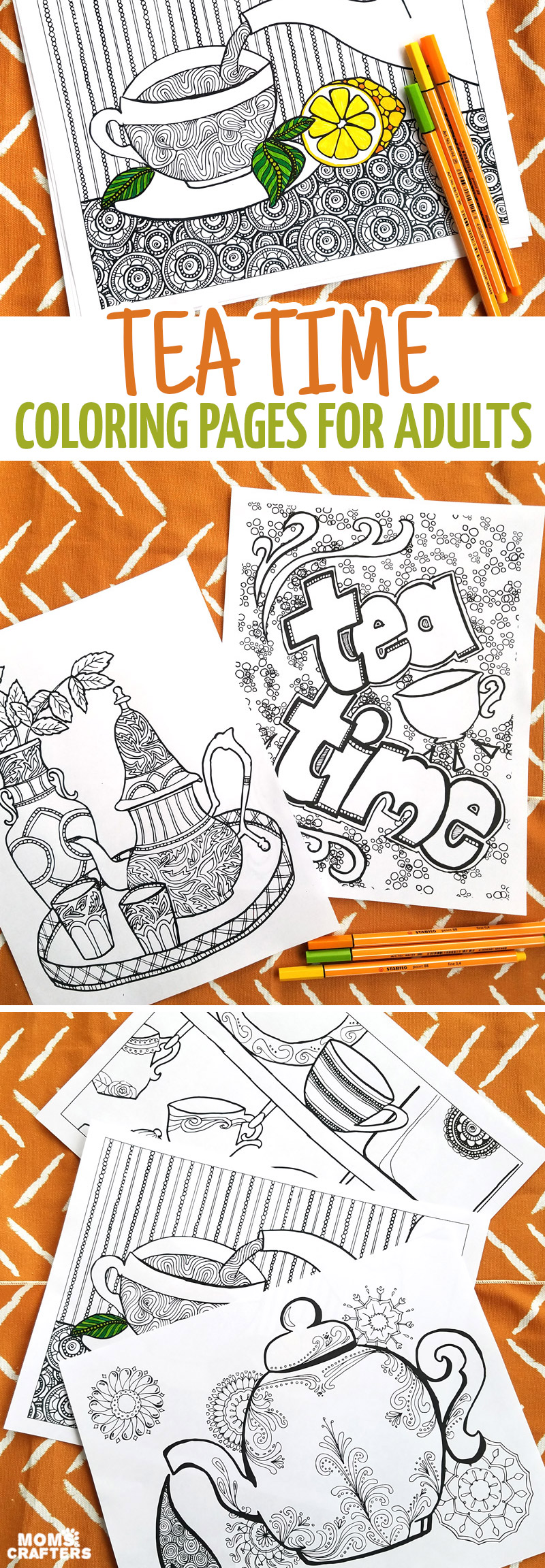 I Love These Fun Printable Tea Coloring Pages For Adults This Cool 5 Page Colouring