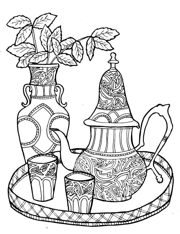 Tea Coloring Pages for Adults - 5 New Hand-drawn pages!