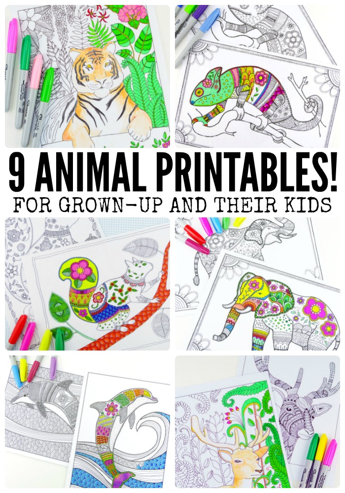 9 Animal Printables - Coloring Pages for Adults - Moms and Crafters