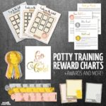 These potty training chart printables, rewards system, and awards are the perfect positive reinforcement for potty training boys and girls! It's great for difficult toddlers and preschoolers and for learning to pee and poop, along with every other stage of toilet training a 2 year old or 3 year old!